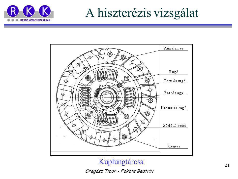 Gregász Tibor - Fekete Beatrix 21 A hiszterézis vizsgálat Kuplungtárcsa