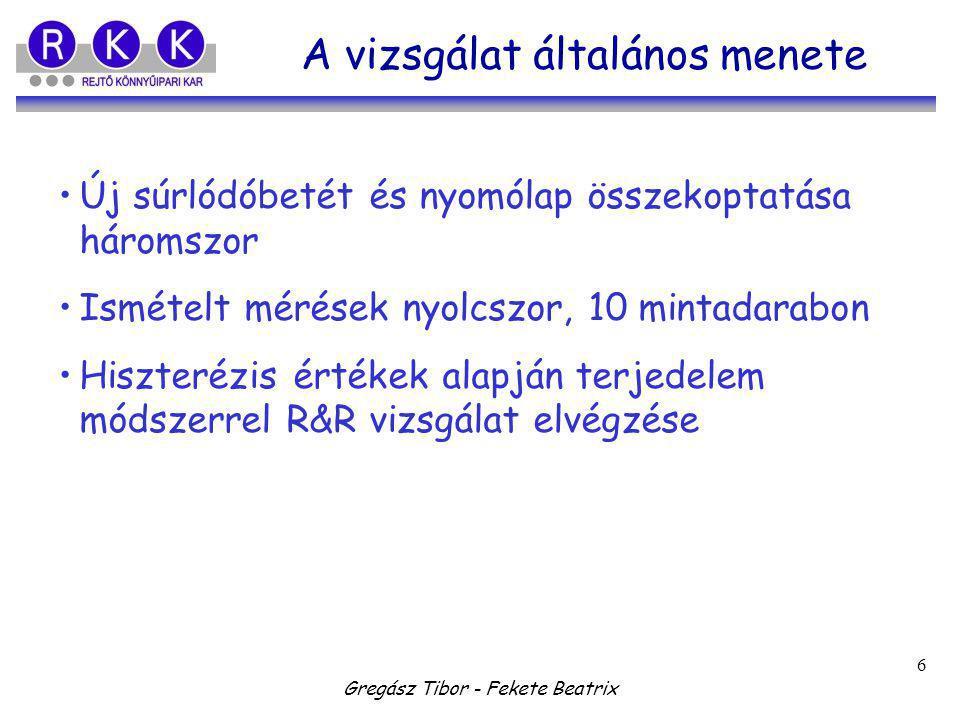 Gregász Tibor - Fekete Beatrix 6 A vizsgálat általános menete Új súrlódóbetét és nyomólap összekoptatása háromszor Ismételt mérések nyolcszor, 10 mintadarabon Hiszterézis értékek alapján terjedelem módszerrel R&R vizsgálat elvégzése