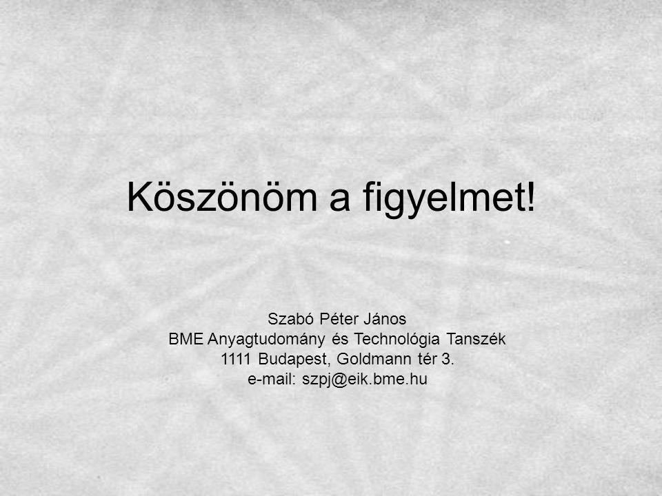 Köszönöm a figyelmet! Szabó Péter János BME Anyagtudomány és Technológia Tanszék 1111 Budapest, Goldmann tér 3. e-mail: szpj@eik.bme.hu