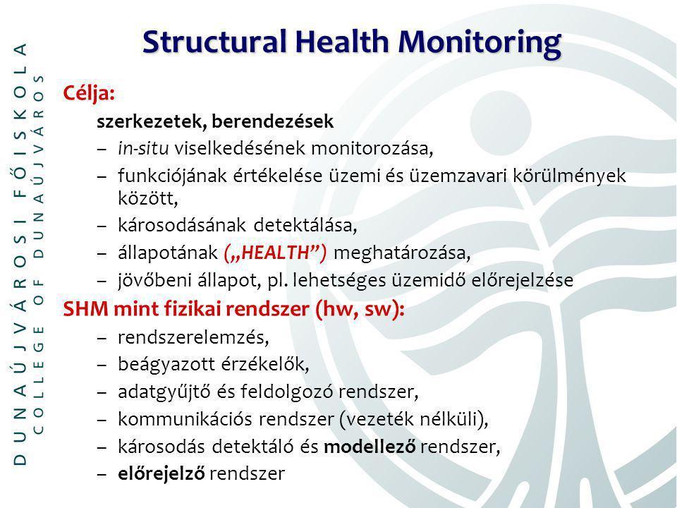 """Structural Health Monitoring Célja: szerkezetek, berendezések –in-situ viselkedésének monitorozása, –funkciójának értékelése üzemi és üzemzavari körülmények között, –károsodásának detektálása, –állapotának (""""HEALTH ) meghatározása, –jövőbeni állapot, pl."""