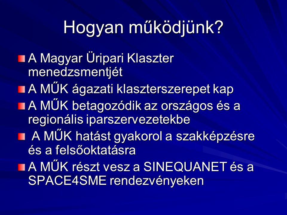 Hogyan működjünk? A Magyar Üripari Klaszter menedzsmentjét A MŰK ágazati klaszterszerepet kap A MŰK betagozódik az országos és a regionális iparszerve