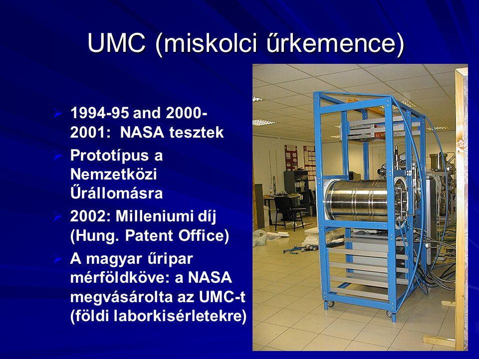 UMC (miskolci űrkemence)   1994-95 and 2000- 2001: NASA tesztek   Prototípus a Nemzetközi Űrállomásra   2002: Milleniumi díj (Hung. Patent Offic