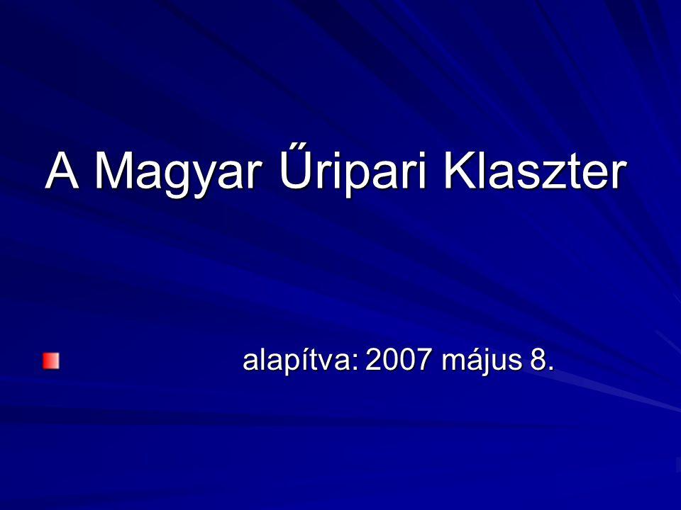 Célok A magyar űripar fejlesztése klaszter rendszerű együttműködéssel Űripari megrendelések teljesítése cégcsoportos ill.