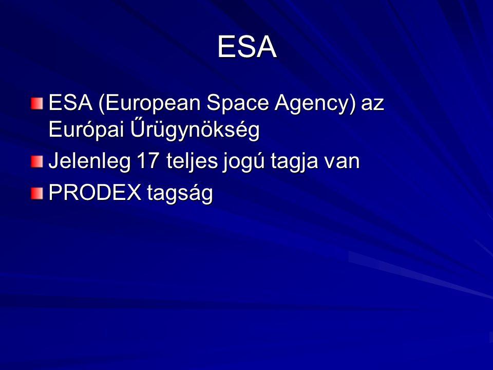 ESA ESA (European Space Agency) az Európai Űrügynökség Jelenleg 17 teljes jogú tagja van PRODEX tagság
