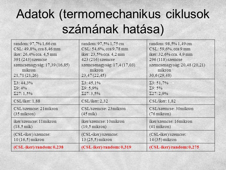 Adatok (termomechanikus ciklusok számának hatása) random: 97,7% 1,66 cm CSL: 49,8%, cca 8,46 mm iker: 26,4% cca. 4,5 mm 391 (243) szemcse szemcsenagys