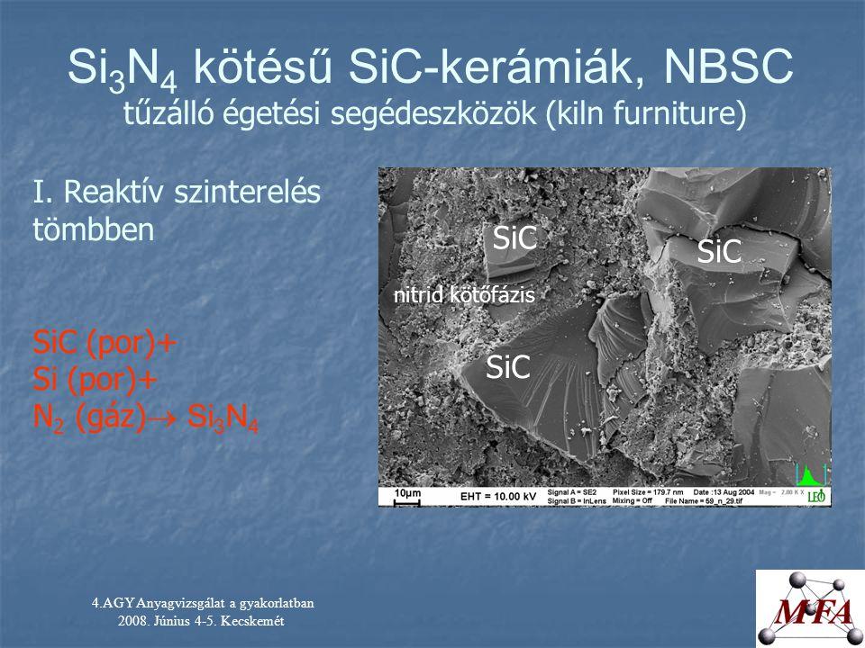 4.AGY Anyagvizsgálat a gyakorlatban 2008. Június 4-5. Kecskemét I. Reaktív szinterelés tömbben SiC (por)+ Si (por)+ N 2 (gáz)  Si 3 N 4 Si 3 N 4 köté