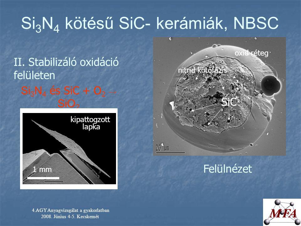 4.AGY Anyagvizsgálat a gyakorlatban 2008. Június 4-5. Kecskemét Si 3 N 4 kötésű SiC- kerámiák, NBSC II. Stabilizáló oxidáció felületen Si 3 N 4 és SiC