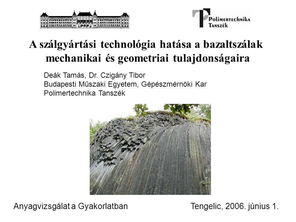 A szálgyártási technológia hatása a bazaltszálak mechanikai és geometriai tulajdonságaira Tengelic, 2006. június 1. Deák Tamás, Dr. Czigány Tibor Buda