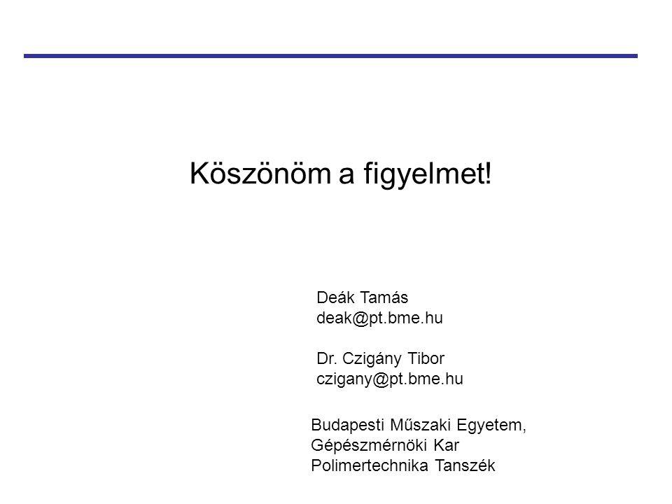 Köszönöm a figyelmet! Deák Tamás deak@pt.bme.hu Dr. Czigány Tibor czigany@pt.bme.hu Budapesti Műszaki Egyetem, Gépészmérnöki Kar Polimertechnika Tansz