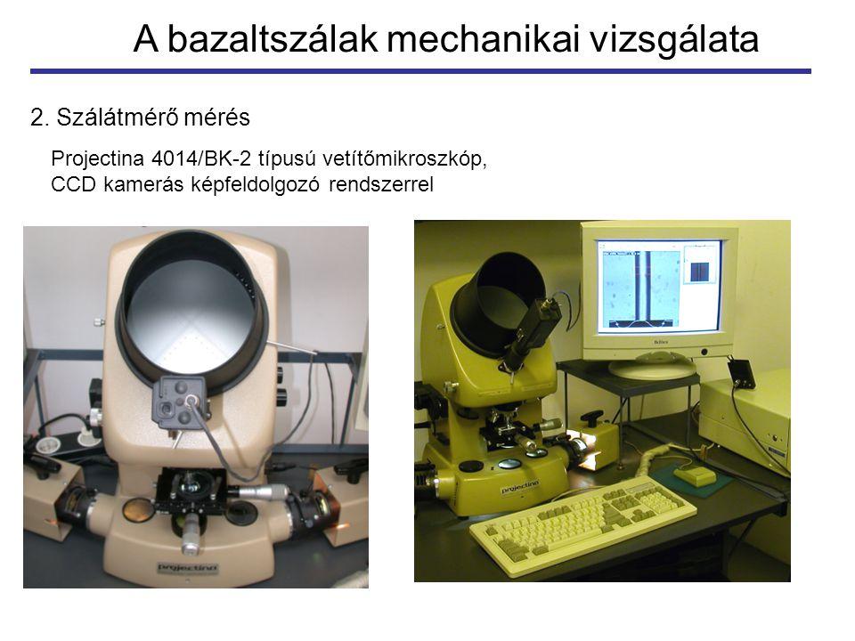 A bazaltszálak mechanikai vizsgálata 2. Szálátmérő mérés Projectina 4014/BK-2 típusú vetítőmikroszkóp, CCD kamerás képfeldolgozó rendszerrel