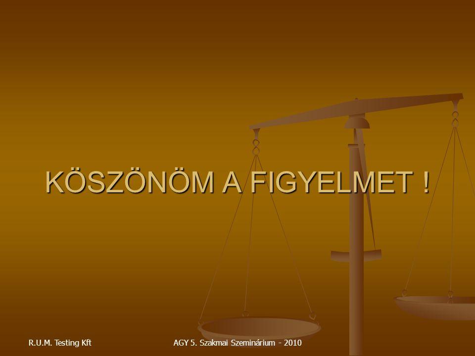 R.U.M. Testing KftAGY 5. Szakmai Szeminárium - 2010 KÖSZÖNÖM A FIGYELMET !