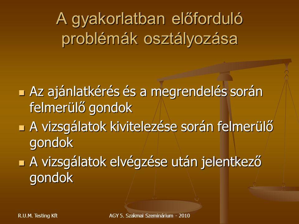 R.U.M. Testing KftAGY 5. Szakmai Szeminárium - 2010 A gyakorlatban előforduló problémák osztályozása Az ajánlatkérés és a megrendelés során felmerülő