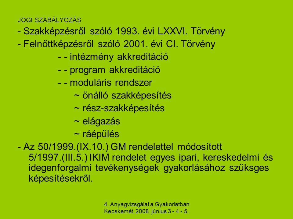 4. Anyagvizsgálat a Gyakorlatban Kecskemét, 2008. június 3 - 4 - 5. JOGI SZABÁLYOZÁS - Szakképzésről szóló 1993. évi LXXVI. Törvény - Felnőttképzésről