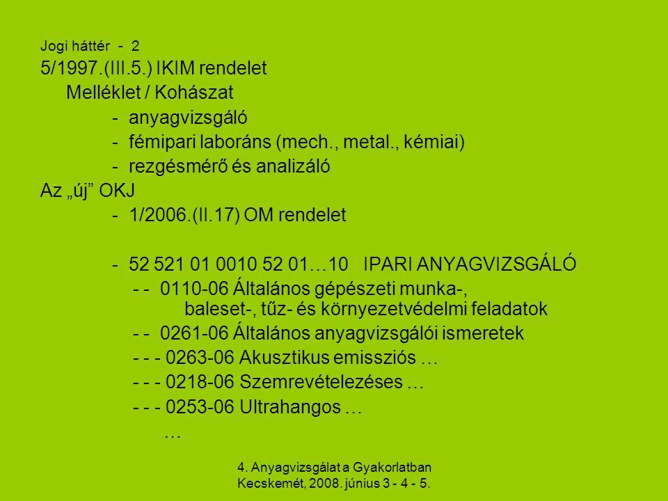 4. Anyagvizsgálat a Gyakorlatban Kecskemét, 2008. június 3 - 4 - 5. Jogi háttér - 2 5/1997.(III.5.) IKIM rendelet Melléklet / Kohászat - anyagvizsgáló