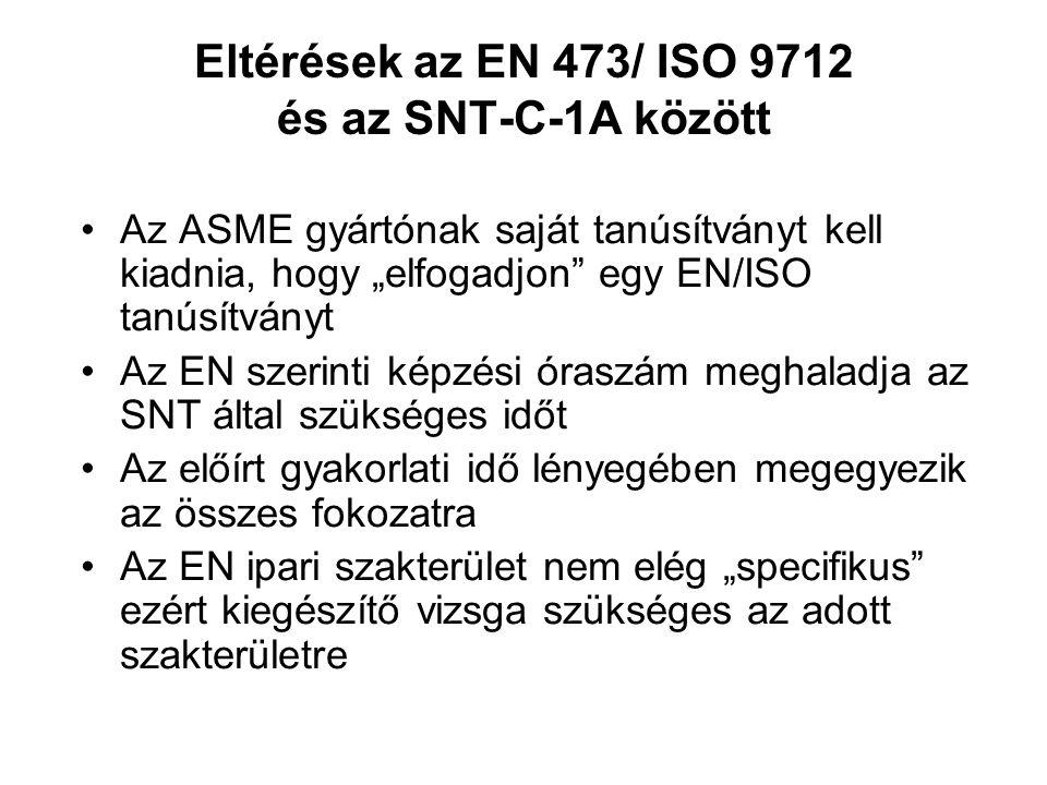 """Eltérések az EN 473/ ISO 9712 és az SNT-C-1A között Az ASME gyártónak saját tanúsítványt kell kiadnia, hogy """"elfogadjon egy EN/ISO tanúsítványt Az EN szerinti képzési óraszám meghaladja az SNT által szükséges időt Az előírt gyakorlati idő lényegében megegyezik az összes fokozatra Az EN ipari szakterület nem elég """"specifikus ezért kiegészítő vizsga szükséges az adott szakterületre"""