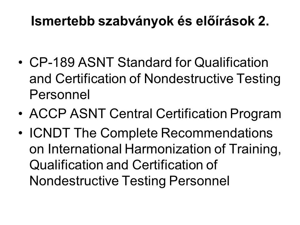 Ismertebb szabványok és előírások 2. CP-189 ASNT Standard for Qualification and Certification of Nondestructive Testing Personnel ACCP ASNT Central Ce