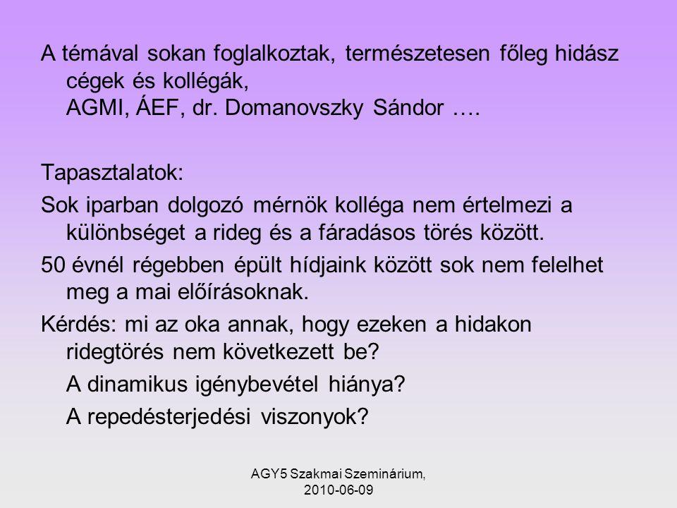 AGY5 Szakmai Szeminárium, 2010-06-09 A témával sokan foglalkoztak, természetesen főleg hidász cégek és kollégák, AGMI, ÁEF, dr.