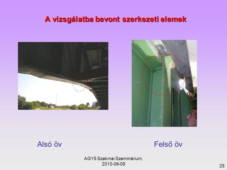 AGY5 Szakmai Szeminárium, 2010-06-09 25 A vizsgálatba bevont szerkezeti elemek Alsó öv Felső öv
