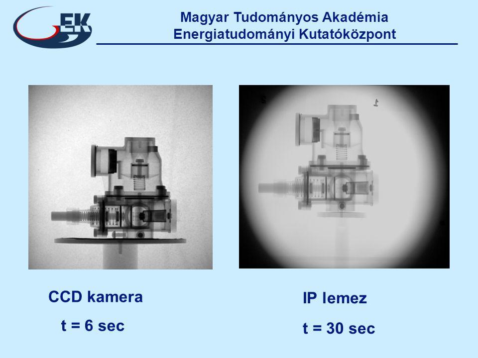 Magyar Tudományos Akadémia Energiatudományi Kutatóközpont CCD kamera t = 6 sec IP lemez t = 30 sec