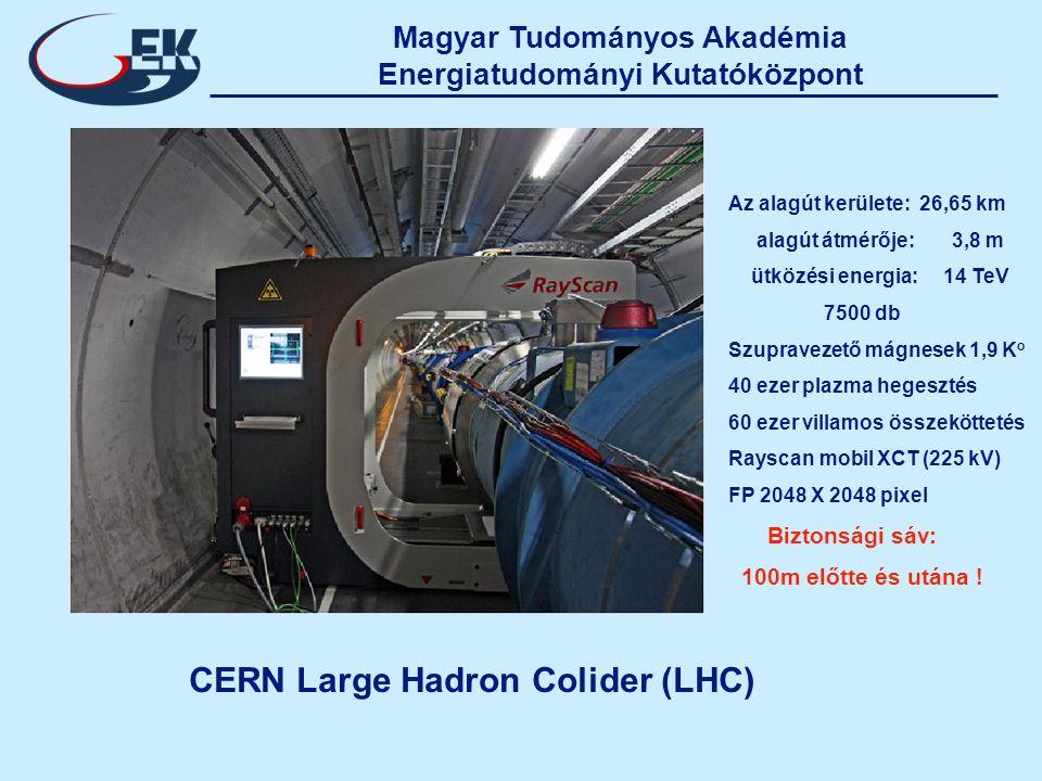 Magyar Tudományos Akadémia Energiatudományi Kutatóközpont CERN Large Hadron Colider (LHC) Az alagút kerülete: 26,65 km alagút átmérője: 3,8 m ütközési energia: 14 TeV 7500 db Szupravezető mágnesek 1,9 K o 40 ezer plazma hegesztés 60 ezer villamos összeköttetés Rayscan mobil XCT (225 kV) FP 2048 X 2048 pixel Biztonsági sáv: 100m előtte és utána !