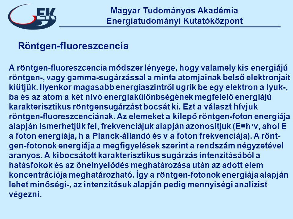 Magyar Tudományos Akadémia Energiatudományi Kutatóközpont Röntgen-fluoreszcencia A röntgen-fluoreszcencia módszer lényege, hogy valamely kis energiájú röntgen-, vagy gamma-sugárzással a minta atomjainak belső elektronjait kiütjük.