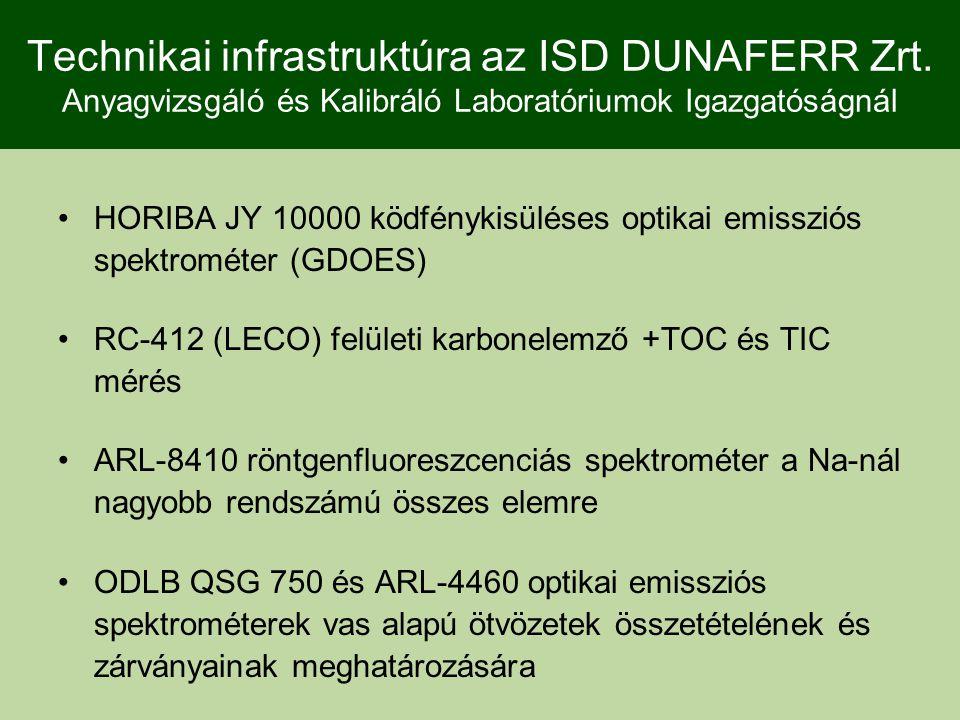 Technikai infrastruktúra az ISD DUNAFERR Zrt. Anyagvizsgáló és Kalibráló Laboratóriumok Igazgatóságnál HORIBA JY 10000 ködfénykisüléses optikai emissz