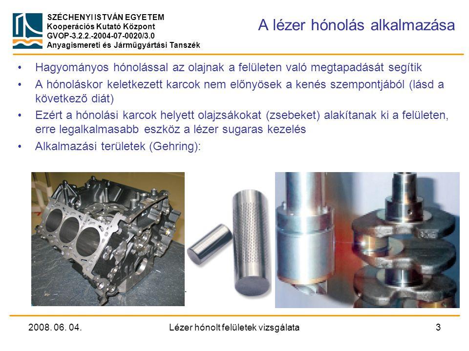 SZÉCHENYI ISTVÁN EGYETEM Kooperációs Kutató Központ GVOP-3.2.2.-2004-07-0020/3.0 Anyagismereti és Járműgyártási Tanszék A henger-dugattyú kapcsolat tribológiai viszonyai Dugattyúgyűrű Gyűrű Érintkezés lehetséges (vegyes súrlódás) Dugattyúgyűrű úszik (hidrodimamikai kenés) Dugattyú haladási iránya Hagyományos hónolás: A dugattyúgyűrű mozgása kiszorítja az olajat a karcokból Lokális olajzsákok képzése: Az olaj megmarad az üregekben