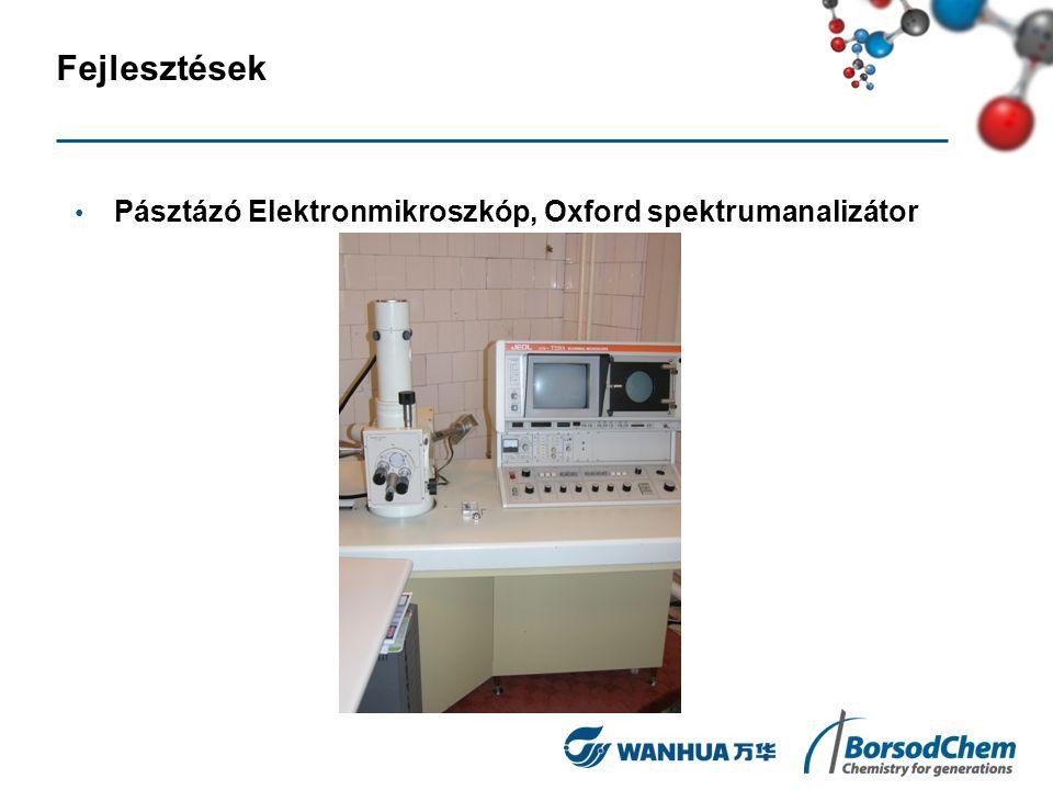 Fejlesztések Pásztázó Elektronmikroszkóp, Oxford spektrumanalizátor