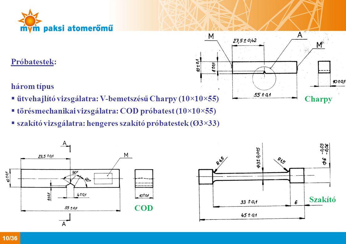 Próbatestek: három típus  ütvehajlító vizsgálatra: V-bemetszésű Charpy (10×10×55)  törésmechanikai vizsgálatra: COD próbatest (10×10×55)  szakító v
