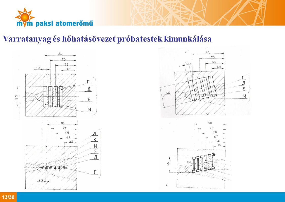 Varratanyag és hőhatásövezet próbatestek kimunkálása 13/36