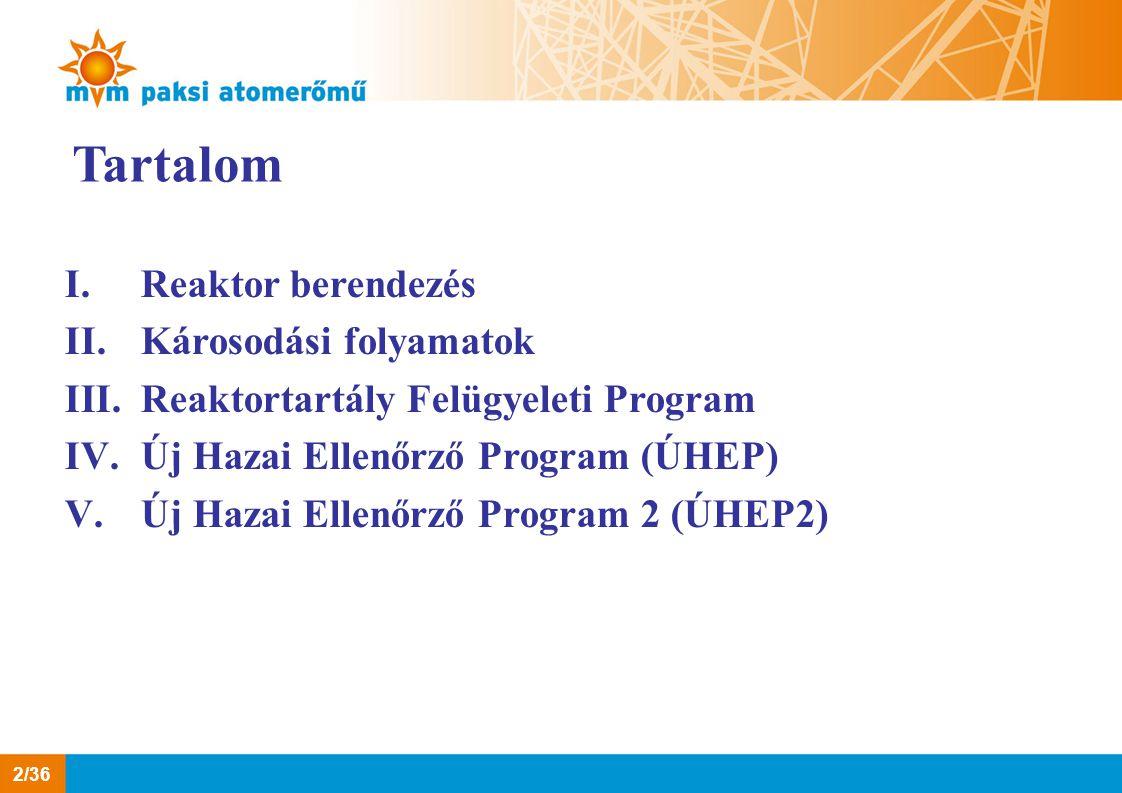 Tartalom I.Reaktor berendezés II.Károsodási folyamatok III.Reaktortartály Felügyeleti Program IV.Új Hazai Ellenőrző Program (ÚHEP) V.Új Hazai Ellenőrz