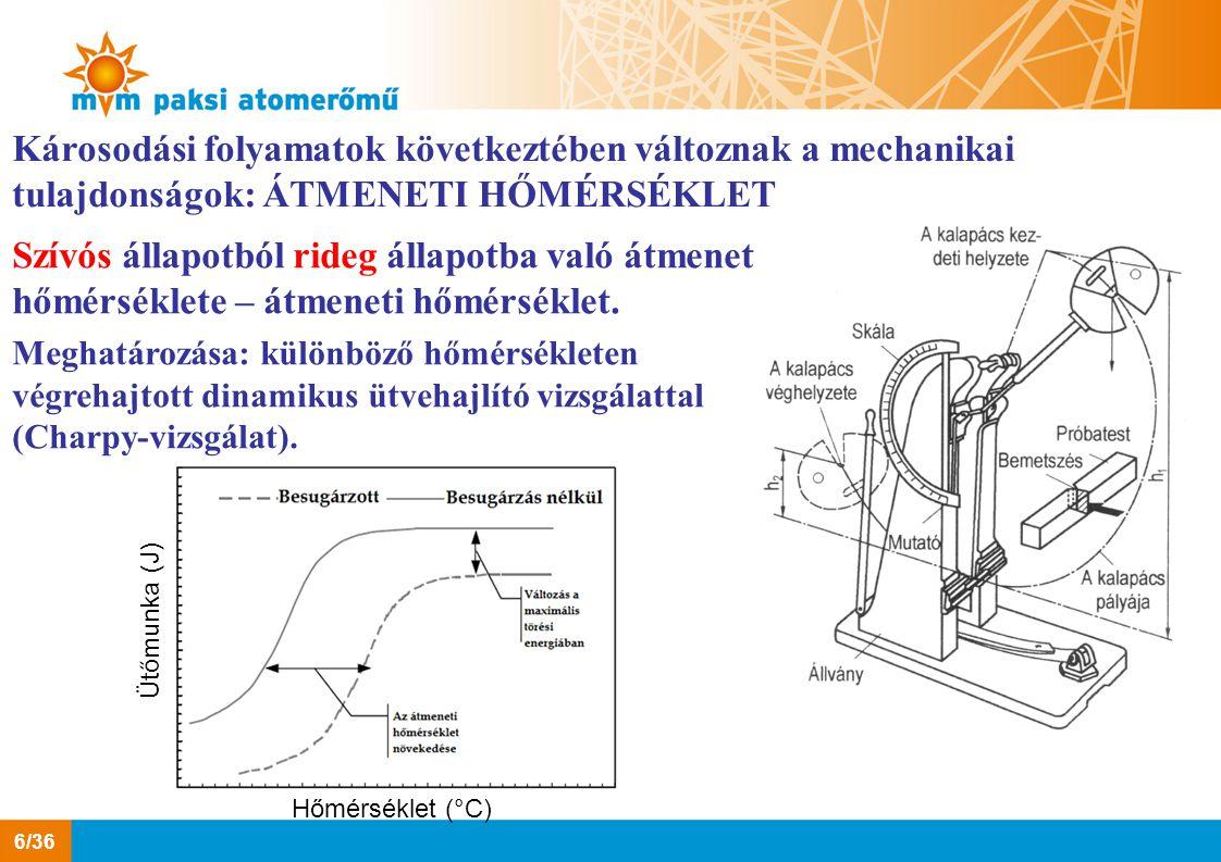 Károsodási folyamatok következtében változnak a mechanikai tulajdonságok: ÁTMENETI HŐMÉRSÉKLET Szívós állapotból rideg állapotba való átmenet hőmérsék
