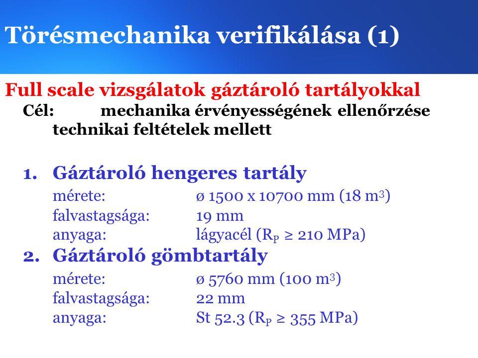 Törésmechanika verifikálása (2) Full scale vizsgálatok erőművi tartályokkal Cél: mechanika érvényességének ellenőrzése technikai feltételek mellett 3.Kazándob mérete:ø 1800 x 12036 mm (25 m 3 ) falvastagsága: 85 mm anyaga:BHW 38 (R p ≥ 420MPa) 4.Reaktor modeltartály fővízköri csonkot tartalmazó gyűrű (M=1:2,25) mérete:ø 1800 falvastagsága: 85 mm anyaga:15H2MFA plattírozva
