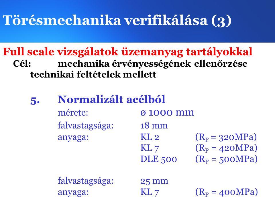 Törésmechanika verifikálása (3) Full scale vizsgálatok üzemanyag tartályokkal Cél: mechanika érvényességének ellenőrzése technikai feltételek mellett 5.Normalizált acélból mérete: ø 1000 mm falvastagsága:18 mm anyaga:KL 2 (R P = 320MPa) KL 7 (R P = 420MPa) DLE 500(R P = 500MPa) falvastagsága:25 mm anyaga:KL 7(R P = 400MPa)