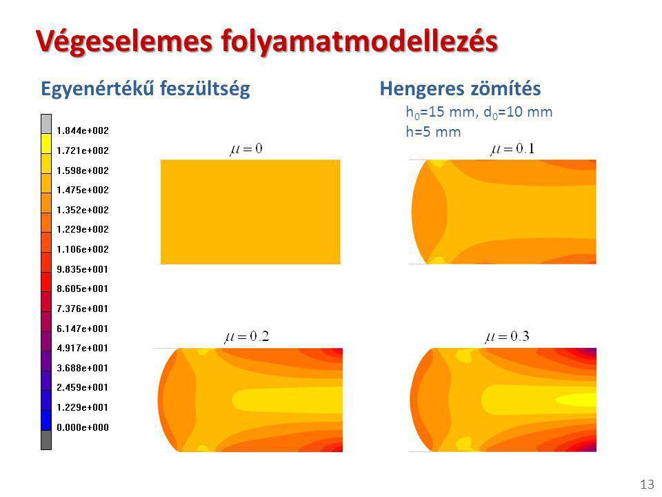 Hengeres zömítés h 0 =15 mm, d 0 =10 mm h=5 mm 13 Végeselemes folyamatmodellezés Egyenértékű feszültség
