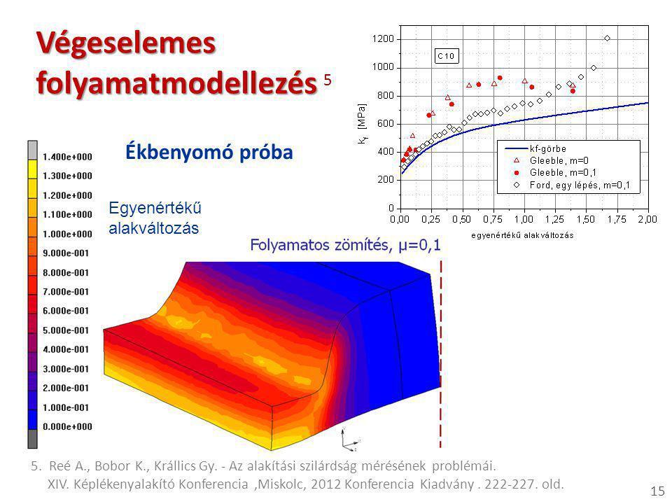 15 Végeselemes folyamatmodellezés Végeselemes folyamatmodellezés 5 Ékbenyomó próba 5. Reé A., Bobor K., Krállics Gy. - Az alakítási szilárdság mérésén