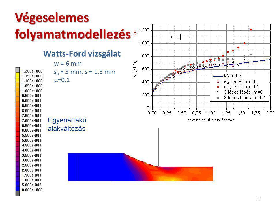 16 Watts-Ford vizsgálat w = 6 mm s 0 = 3 mm, s = 1,5 mm μ=0,1 Végeselemes folyamatmodellezés Végeselemes folyamatmodellezés 5 Egyenértékű alakváltozás