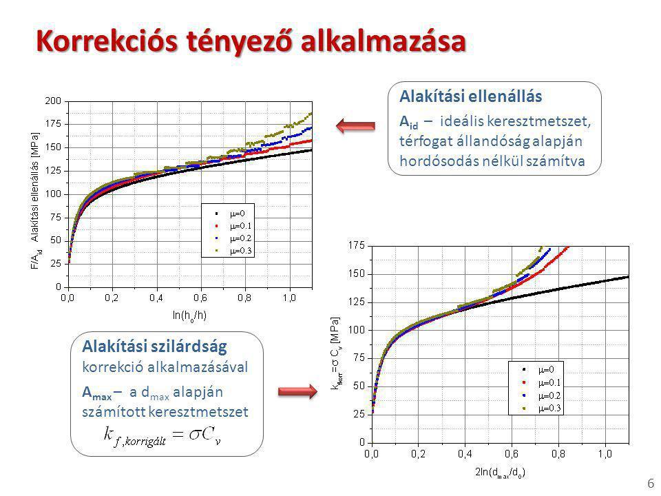 6 Alakítási szilárdság korrekció alkalmazásával Korrekciós tényező alkalmazása A id – ideális keresztmetszet, térfogat állandóság alapján hordósodás n