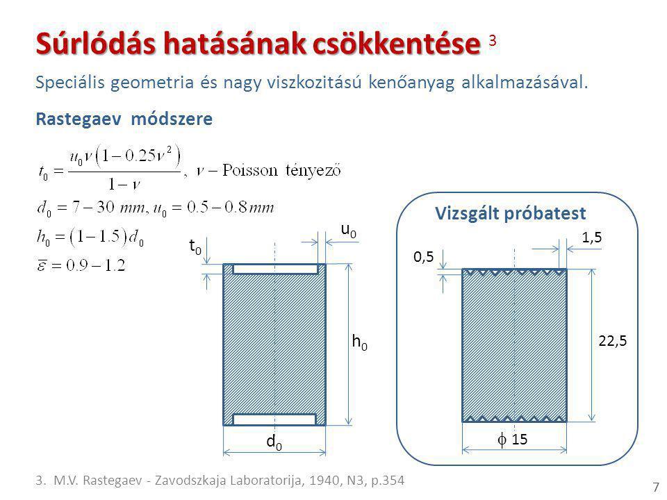 7 u0u0 t0t0 d0d0 h0h0 Rastegaev módszere 1,5  15 h0h0 0,5 Súrlódás hatásának csökkentése Súrlódás hatásának csökkentése 3 Speciális geometria és nag