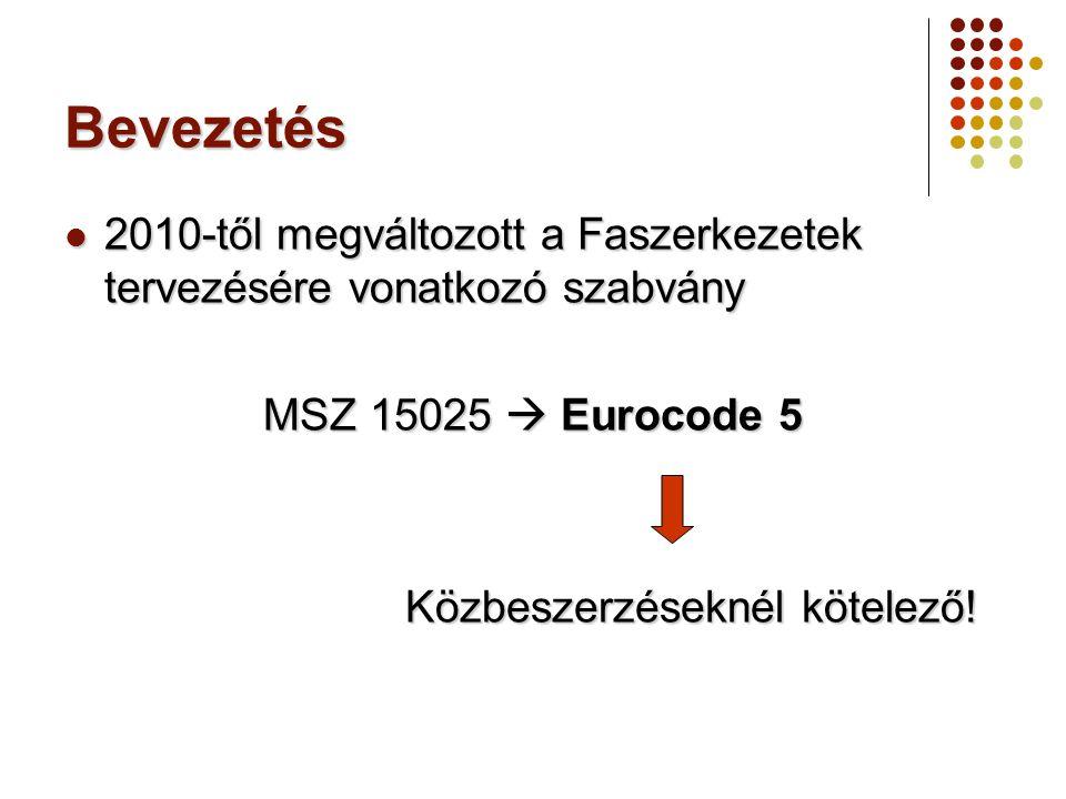 Bevezetés 2010-től megváltozott a Faszerkezetek tervezésére vonatkozó szabvány 2010-től megváltozott a Faszerkezetek tervezésére vonatkozó szabvány MS