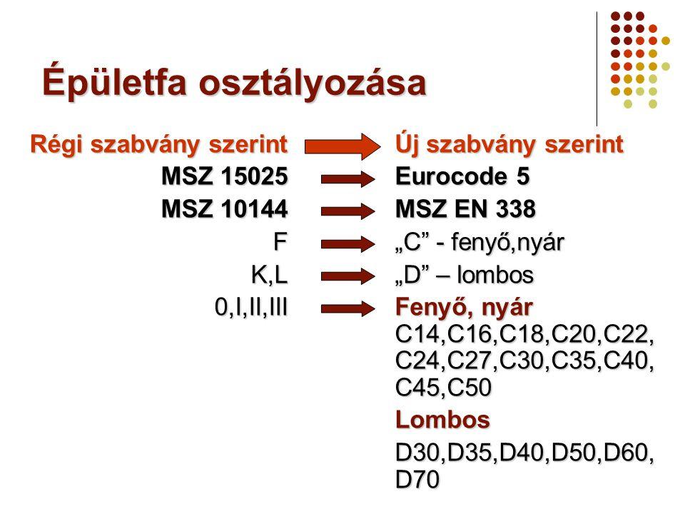"""Épületfa osztályozása Régi szabvány szerint MSZ 15025 MSZ 10144 FK,L0,I,II,III Új szabvány szerint Eurocode 5 MSZ EN 338 """"C"""" - fenyő,nyár """"D"""" – lombos"""