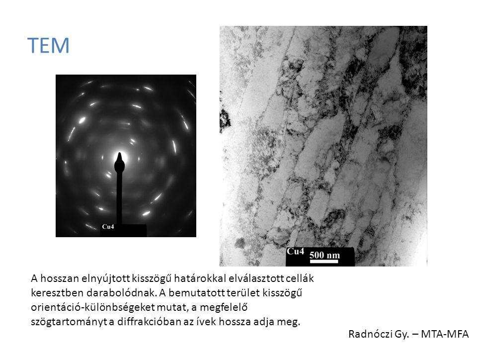 TEM A hosszan elnyújtott kisszögű határokkal elválasztott cellák keresztben darabolódnak. A bemutatott terület kisszögű orientáció-különbségeket mutat