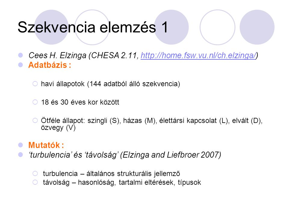 Szekvencia elemzés 1 Cees H. Elzinga (CHESA 2.11, http://home.fsw.vu.nl/ch.elzinga/)http://home.fsw.vu.nl/ch.elzinga/ Adatbázis :  havi állapotok (14