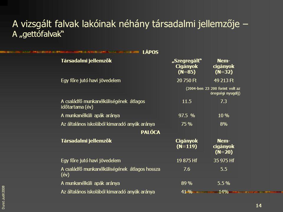 """Durst Judit 20 08 14 a. Grand Mean 14 L Á POS Társadalmi jellemzők""""Szegregált"""" Cigányok (N=85) Nem- cigányok (N=32) Egy főre jutó havi jövedelem20 750"""