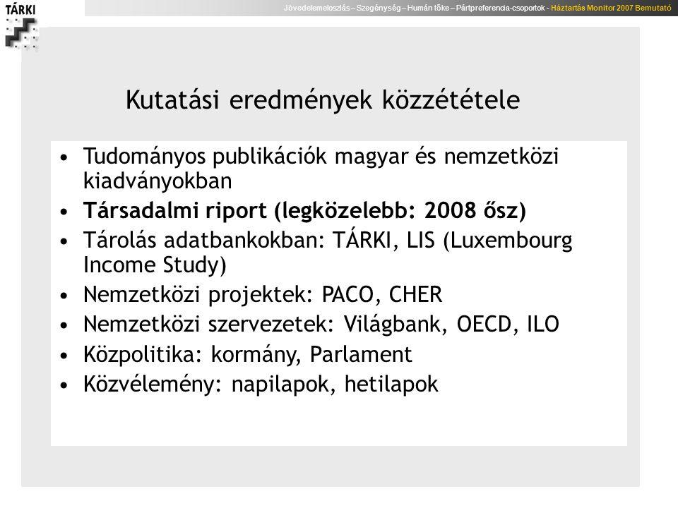 Jövedelemeloszlás – Szegénység – Humán tőke – Pártpreferencia-csoportok - Háztartás Monitor 2007 Bemutató Összefoglalás A rendszerváltást követő második évtizedet a jövedelmi szegénység kiterjedtségének és mélységének – kisebb hullámzások melletti - állandósulása jellemzi A szegénységi ráta a skandináv és a kontinentális országok közé helyezi Magyarországot A szegénységbe kerülés legfontosabb meghatározói: – a háztartásfő iskolázottsága, munkaerő-piaci helyzete, etnikuma és – a háztartás összetétele