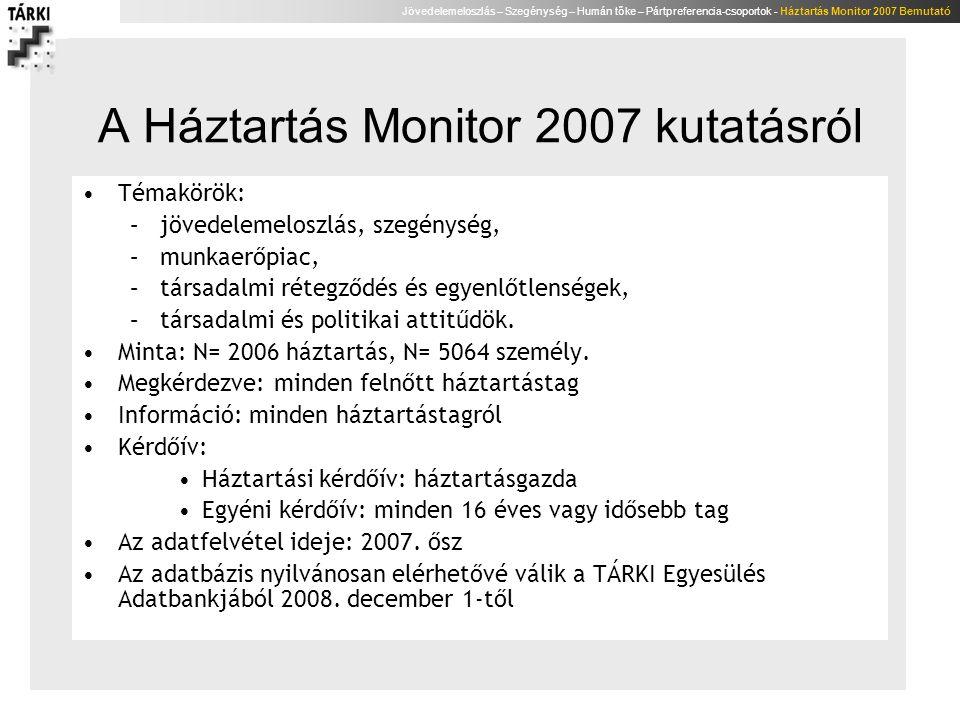 Jövedelemeloszlás – Szegénység – Humán tőke – Pártpreferencia-csoportok - Háztartás Monitor 2007 Bemutató Humán tőke avagy az életen át tartó tanulás a Monitor adatok tükrében Lannert Judit Tárki-Tudok