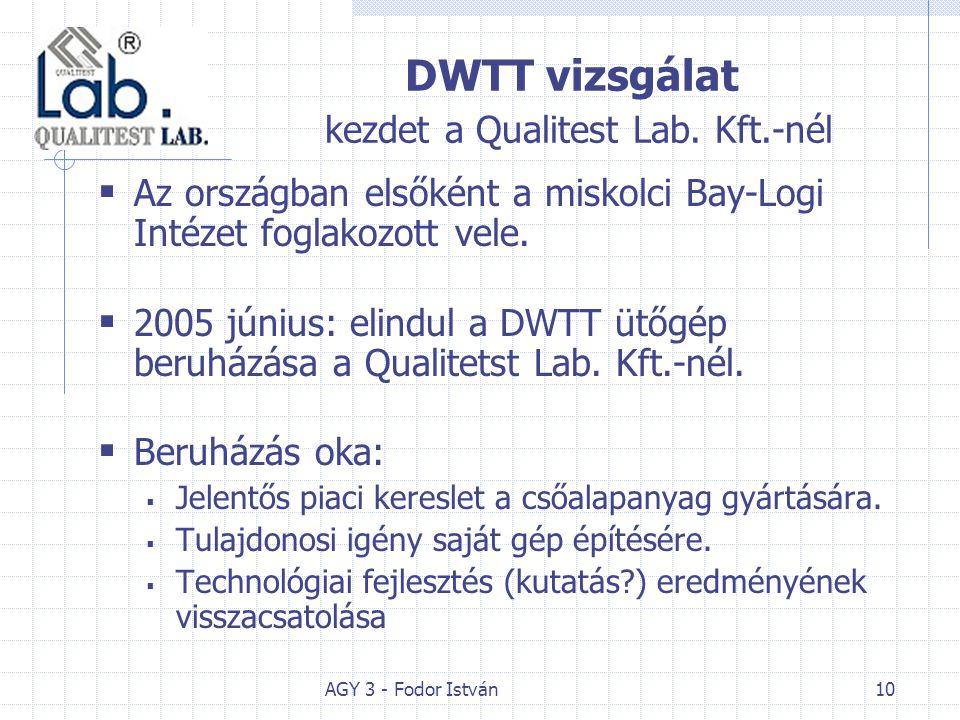 AGY 3 - Fodor István10 DWTT vizsgálat kezdet a Qualitest Lab. Kft.-nél  Az országban elsőként a miskolci Bay-Logi Intézet foglakozott vele.  2005 jú