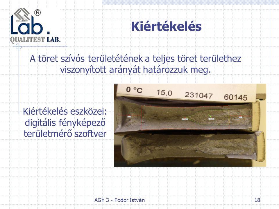 AGY 3 - Fodor István18 Kiértékelés Kiértékelés eszközei: digitális fényképező területmérő szoftver A töret szívós területétének a teljes töret területhez viszonyított arányát határozzuk meg.