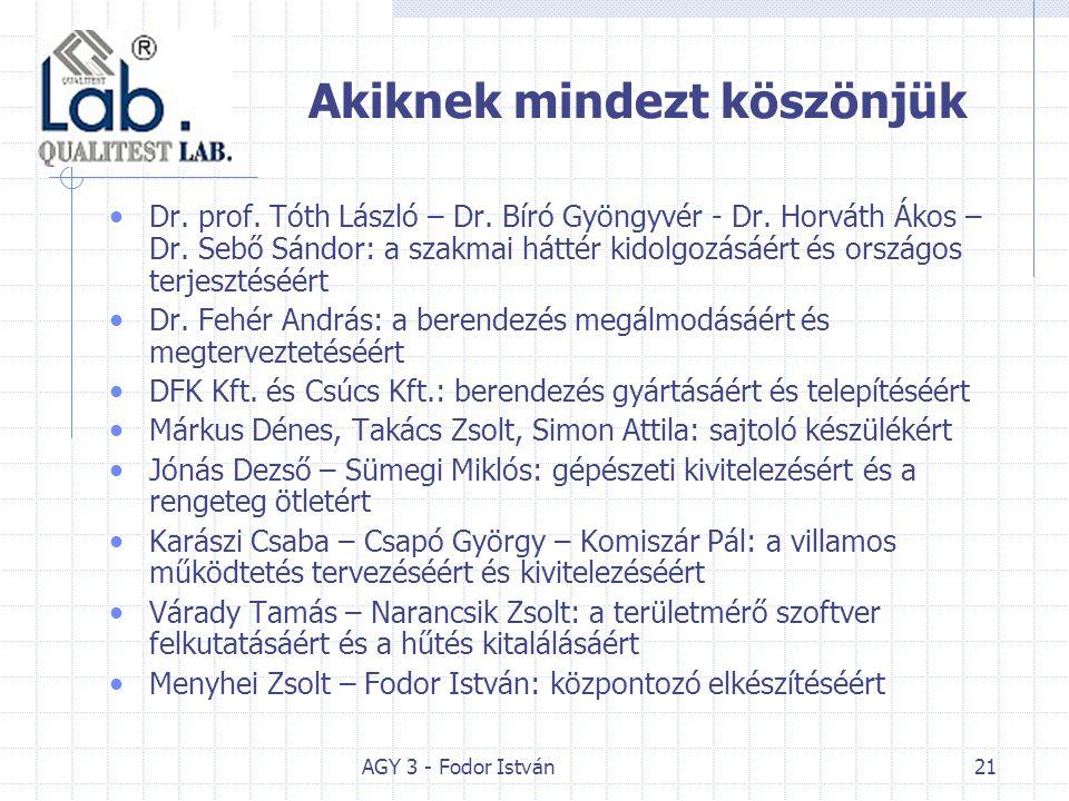 AGY 3 - Fodor István21 Akiknek mindezt köszönjük Dr.
