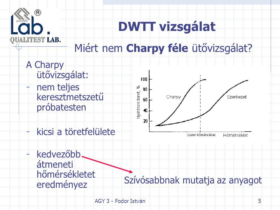 AGY 3 - Fodor István5 DWTT vizsgálat A Charpy ütővizsgálat: - nem teljes keresztmetszetű próbatesten - kicsi a töretfelülete - kedvezőbb átmeneti hőmérsékletet eredményez Miért nem Charpy féle ütővizsgálat.